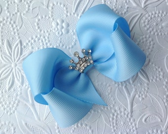 Cinderella bow or headband: Blue hair bow with crown. Girls hair bow. Princess Hair bow. 4 inch bow. Pageant  bow, Cinderella headband.