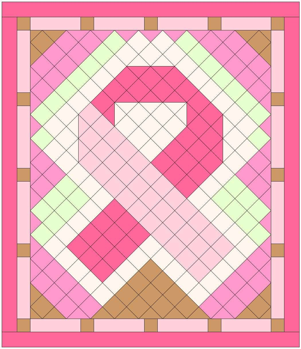 Breast Cancer Support Ribbon Quilt 78 X 91