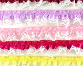 "Satin Floral Ruffle Lace Trim 1/2"" (pack of 25 yard)  - ** FREE SHIPPING **"