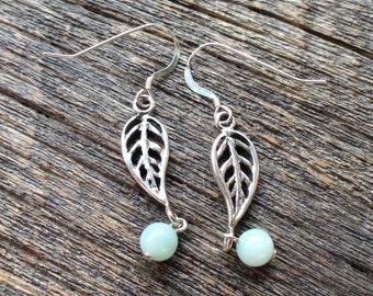 Sterling Silver leaf drop earrings w/ Aquamarine Jade drops