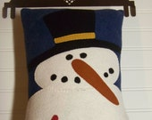 Wool Felt Appliqued Primitive Snowman Pillow
