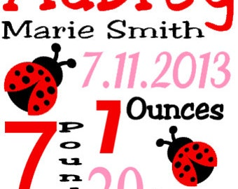 Personalized Baby Birth Annoucement Stat Wall Art Girl Ladybug Garden Name Bedding Butterflies Lady Bug