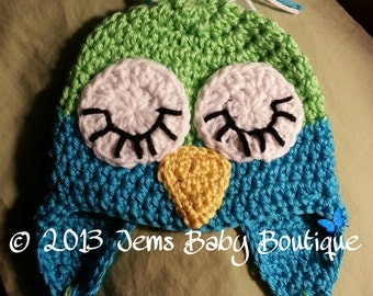 Adorable sleepy Owl Crochet  Hat,  Preemie & Newborn to 10 years, Photo Prop Beanie, Made to Order