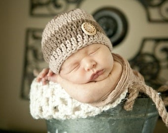 Blue or Brown Crochet Boy Hat, Boy Hat  with Button,  Baby Boy Beanie, All Sizes Available, Photo Prop Beanie