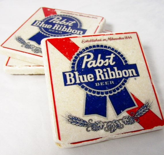 PBR Pabst Blue Ribbon Beer Label Coaster By