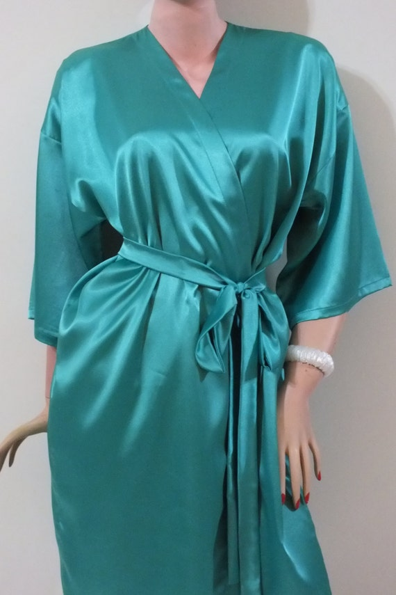 Emerald Green Silk robeBridal party robes getting by ...