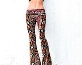 AZTEC TRIBAL STRIPE  flare leg gypsy hippie retro festival yoga fashion bell bottoms with fold waist optional
