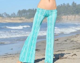 TURQUOISE AZTEC TRIBAL aqua ocean azul fashion gypsy hippie retro festival yoga bell bottom flare leg beach pants