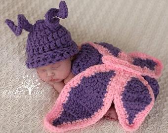 Ready To Ship Newborn Baby Butterfly Hat & Cape Set Crochet Photo Prop