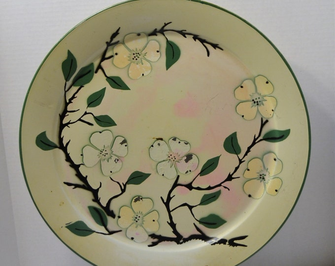 Mid Century Serving Tray 19 inch Metal Social Supper Tray Dogwood Vintage Kitchen Decor Panchosporch