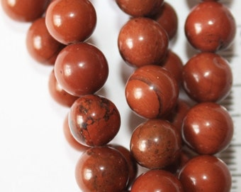 "Genuine Red Jasper Beads - Round 8 mm Gemstone Beads - Full Strand 15"", 47 beads, A-Quality"