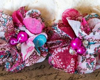 """Hair Clip """"Rasberry Ice"""" Chiffon Flower Hair Clip with Pearl Center/ Hair Bow/Headband/Girls Hair/Flower Girl/Hair Accessories"""