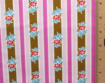 Jennifer Paganelli fabric Poodle Siobahn cotton fabric JP37 PINK stripe floral free spirit 100% Cotton sewing/quilting fabric by the yard