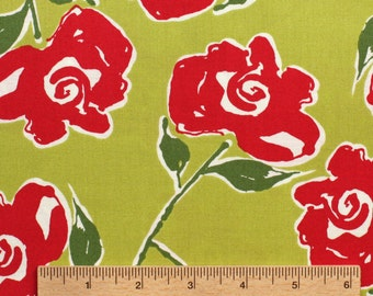 Kathy Davis Ambrosia Master Graphic Rose KD23 Red green floral flowers sewing quilting 100% cotton fabric by the yard