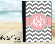 Personalized iPad Case - Personalized iPad Cover - Personalized iPad Mini Case  2, 3, 4, Air Mini - Grey Chevron Pink Monogrammed (IPM1001)
