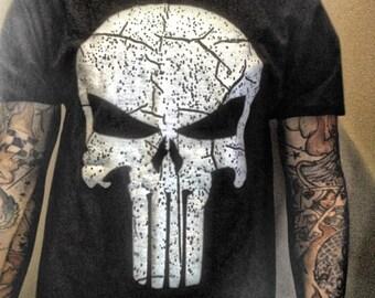 Punisher T shirt all sizes black skull Marines