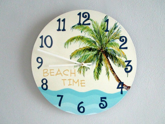 House Wall Clock Tropical Palm Tree Clock Beach Time Beach Decor