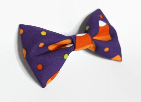 Halloween Pet Bow Tie - Cat, Dog, Kitten Puppy - Collar Attachment - Candy Corn, Purple - Extra Small, Small, Medium, Large