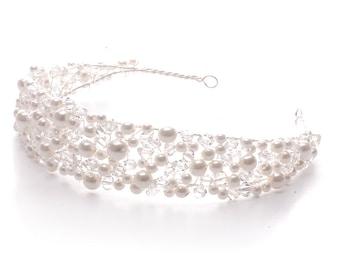 Pearl & Crystal Flexible Headband Style Headpiece
