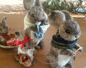 RESERVED for Tiffany. felted rabbit family. needle felted wool bunny ornaments. family gift.