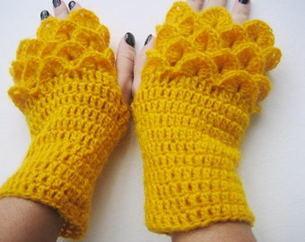 BLACK FRIDAY SALE! bridal autumn gloves bridal winter yellow gloves Fingerless Gloves Crocheted Arm Warmers Yellow Accessory