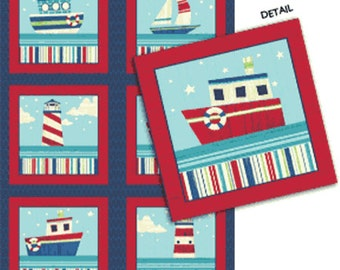 SUPER CLEARANCE!! Ships Ahoy Panel  in Navy / Red  -Nautical Cotton Quilt Fabric - from Benartex (W650)