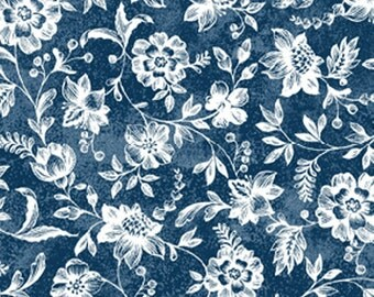 7/8 Yard REMNANT Normandy Court - Petite Florals in Dark Blue and White - Cotton Quilt Fabric - Michele D'Amore for Benartex Fabrics (W1476)