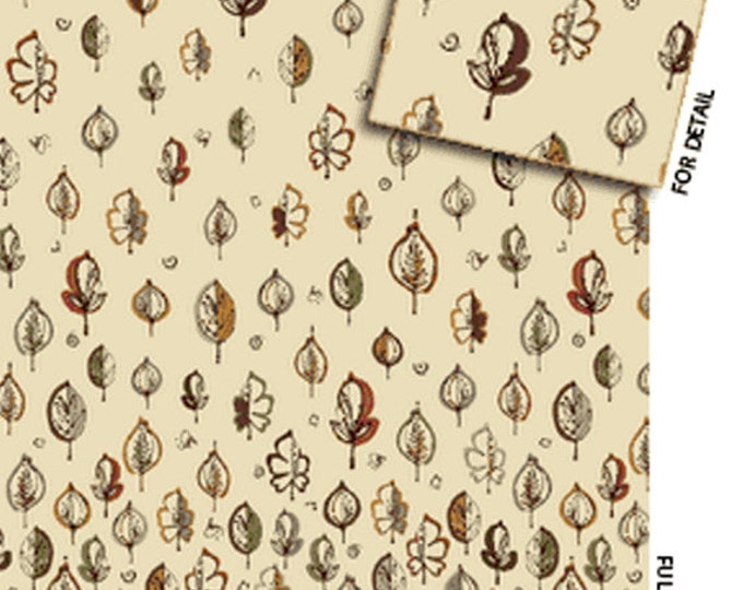 SUPER CLEARANCE!! One Yard Leaf Haven - Leaf Border in Vanilla - Cotton Quilt Fabric - by Michele D'Amore - Benartex Fabrics (W717)