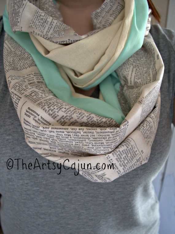Dictionary Infinity Scarf with Mint Green Stripe, Only store to offer these!