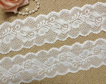 Off-White Stretch Lace Trim, Headband Lace, Wedding Garter Lace Trim, Lingerie Lace, 2 Yards