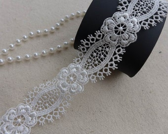 Ornate Venise Lace Trim in White, Wedding Trim, Bridal Gown Fabric Trims, Necklace, Jewelry Lace
