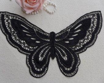 Beautiful Butterfly Applique, Black Lace Applique, Large Butterfly, Black Butterfly Lace Applique 1pc
