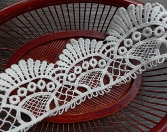 "Off White Cotton Lace 2"" wide Scalloped Lace Trim with Eyelet design for Altered Couture"