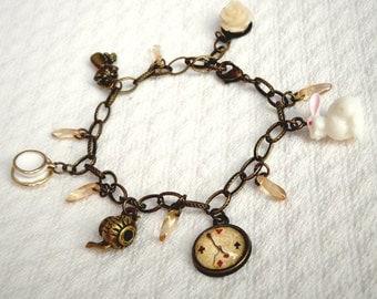 Alice in Wonderland bracelet, Alice in Wonderland jewelry, white rabbit, wonderland gift, porcelain cup