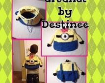Crochet minion backpack minion bag minion purse