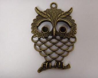 Large Antiqued Bronze Owl Cabochon