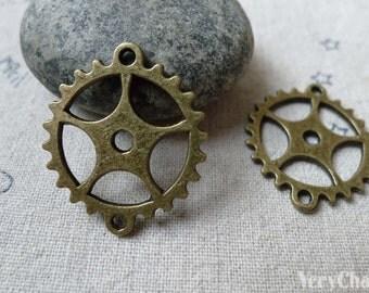 Gear Wheel Connectors Antique Bronze Mechanical Watch Parts Pendants 25x28mm Set of 10 A6540