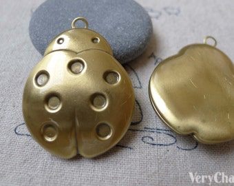 4 pcs of Antique Bronze Brass Beetle Insect Photo Locket Charms 28x33mm A7011