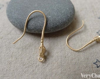 10 pcs Matte Gold Tone Brass Crown Fish Hook Earwire Findings 21mm A7138
