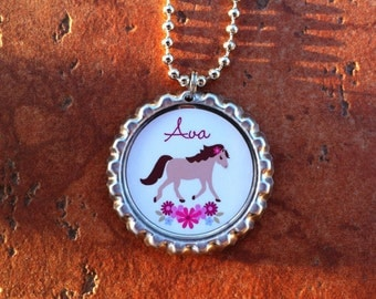 Personalized Horse Bottle Cap Necklace OR Zipper Pull - YOU CHOOSE