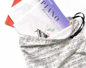 Music Bag with Sheet Music and Music Notes. Music Gift. Makes a Lovely Music Teacher Gift. Musical Instrument Drawstring Bag. Musical Notes.