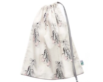 Ballet Bag or Dance Bag with Ballet Shoes in Cream, Pink & Grey. The Perfect Drawstring Bag for Ballet Slippers and Dancewear.