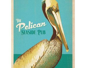 Pelican Seaside Pub Beach Bird Wall Decal #42286