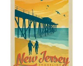 New Jersey Shoreline Beach Pier Wall Decal #48313