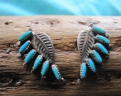 Vintage Needle Point Turquoise Leaf Sterling Post Earrings