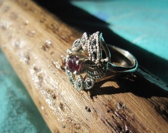 Ornate Garnet, Marcasite and Sterling Ring Size 8
