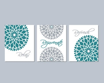 Floral Bathroom Wall Decor   Prints Or Canvas Wall Art   Relax Rejuvenate  Refresh   Teal