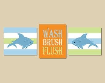 Shark Decor, Shark Bathroom Decor, Wash Brush Flush, Bathroom Rules Kids Wall Art Blue Orange Green Set of 3 Prints Or Canvas Boy Bathroom