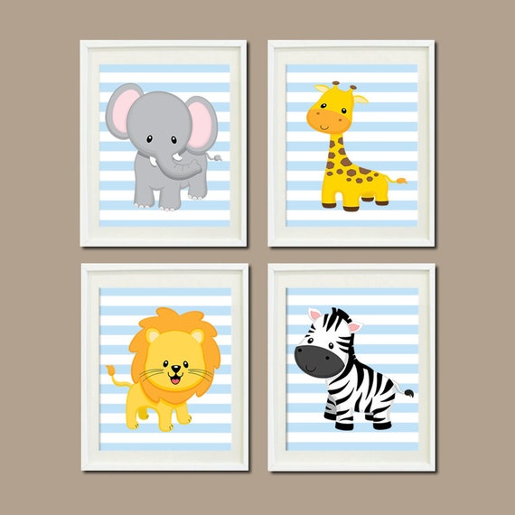 Jungle nursery wall art elephant giraffe lion by lovelyfacedesigns - Wall decor for baby boy ...