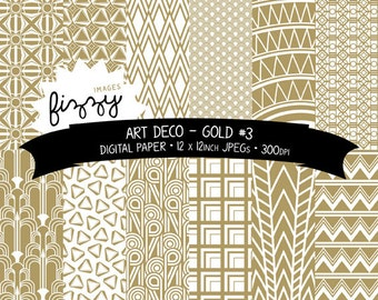 12 x  Art Deco Great Gatsby 1920s 1930s Gold No.3 Patterned Digital Paper Clipart  with Instant Download. MPS0034